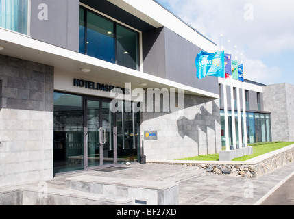The exterior entrance of the brand new 4-star Hotel das Flores, located in Santa Cruz das Flores, on Flores, in - Stock Photo