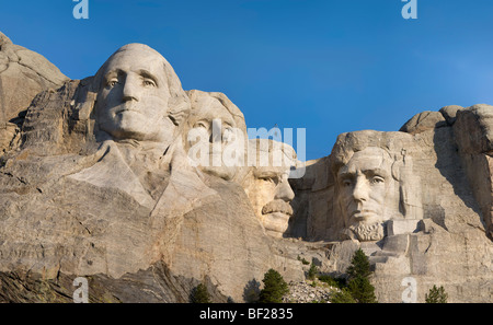 Hi-res panorama of Mt Mount Rushmore National Memorial, South Dakota in early morning light. - Stock Photo