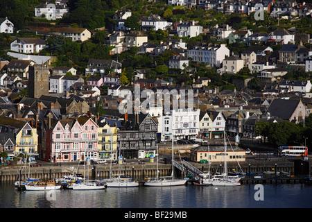 View to Dartmouth with harbor, Dartmouth, Devon, England, United Kingdom - Stock Photo