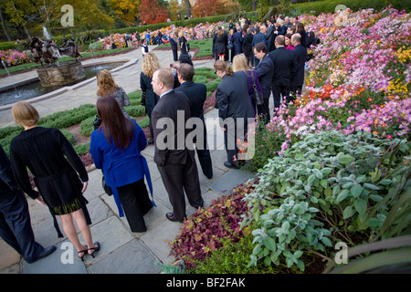 Wedding in Conservatory Garden, Central Park, Manhattan, New York City - Stock Photo