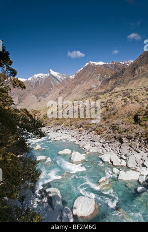 View from the bridge & trail up to the summit of the Rob Roy Glacier, New Zealand - Stock Photo