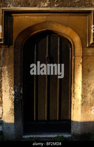 Door of Holy Trinity Church Hall at dawn, Bradford on Avon, Wiltshire, England, UK - Stock Photo