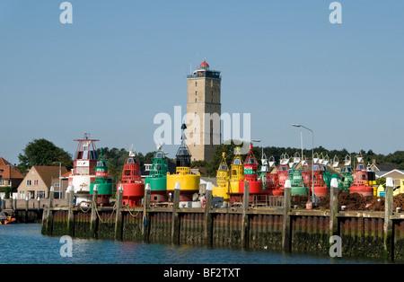 Terschelling Friesland Brandaris lighthouse Wadden Wad Sea Harbour Port Netherlands - Stock Photo
