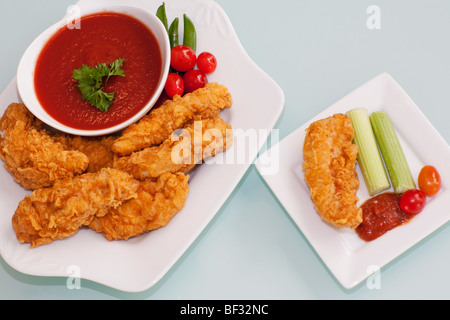 Batter fried chicken with ketchup - Stock Photo