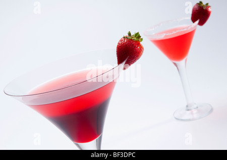 Close-up of two strawberry cocktails - Stock Photo
