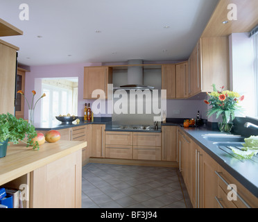 Mauve Fitted Units In Modern Kitchen With Orange Wall Tiles Stock