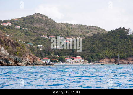 A view of Anse Corosol on Saint Barthelemy (St. Barts) in the French West Indies - Stock Photo