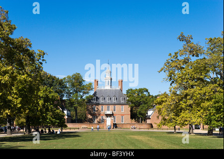 The Governor's Palace and Palace Green, Colonial Williamsburg,Virginia, USA - Stock Photo