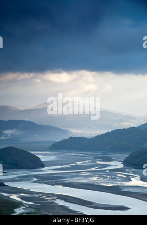 Daybreak over the Mawddach Estuary near Snowdonia National Park Wales, - Stock Photo