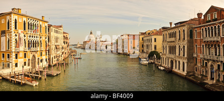 Panorama of the Grand Canal, Venice, Italy. From the Ponte dell'Accademia  looking towards San Marco. - Stock Photo