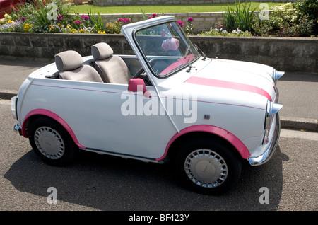 Mini Car, Converted, Summer, Somerset, England - Stock Photo