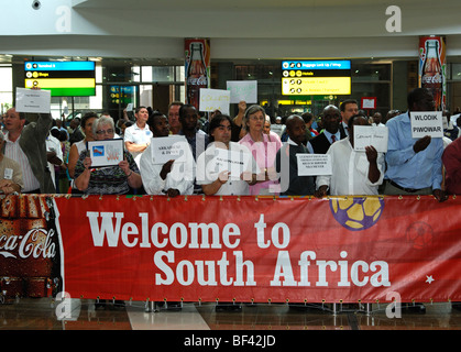 Welcome to South Africa - banner in the arrival hall of the O.R. Tambo International Airport (ORTIA), Johannesburg, South Africa