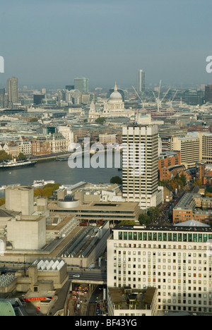 London Skyline looking north east towards St Pauls cathedral. Waterloo and south bank arts complex in foreground. - Stock Photo