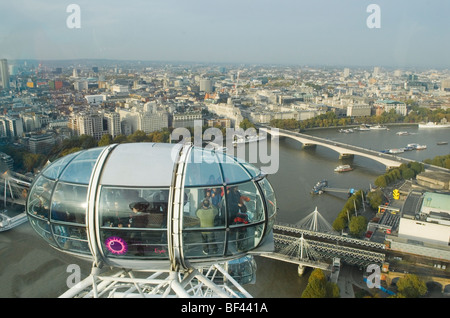 London Skyline from The London Eye. Looking north and eastwards along path of river thames. HOMER SYKES - Stock Photo