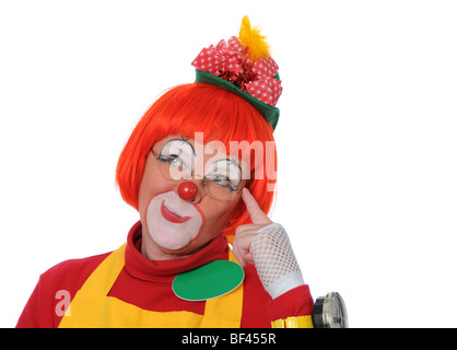 Clown thinking isolated over a white background - Stock Photo