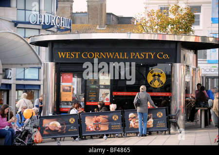 The West Cornwall Pasty Co takeaway cafe kiosk at Churchill Square in Brighton UK - Stock Photo