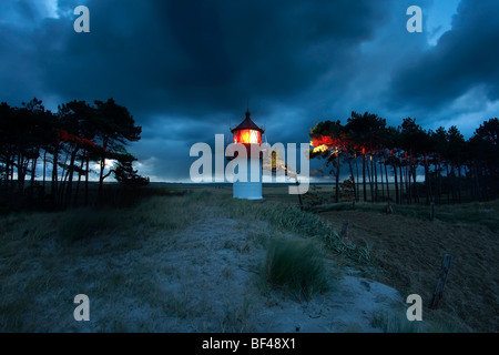 Gellen beacon on Hiddensee island at night, Mecklenburg-Western Pomerania, Germany, Europe - Stock Photo
