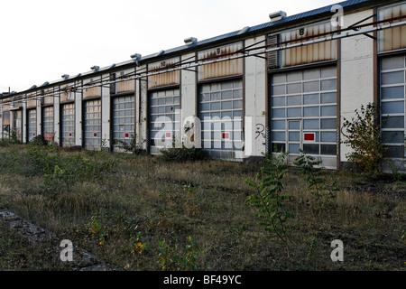 Large repair Hall, overgrown terrain, former Ausbesserungswerk repair shop of German Railways, closed in 2003, Duisburg - Stock Photo