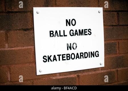 No ball games or skateboarding - Stock Photo