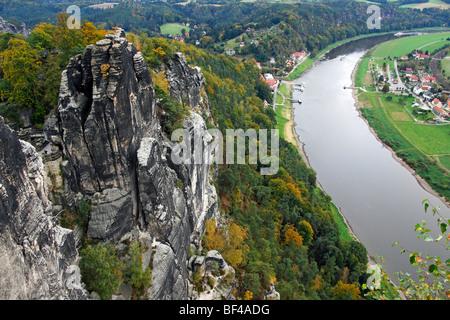 The Bastion, rock formation above the river Elbe, Elbsandsteingebirge Elbe Sandstone Mountains overlooking Rathen, - Stock Photo
