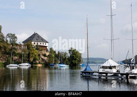 Schloss Mattsee castle, Weyerbucht bay, Flachgau, Salzburger Land region, Salzburg, Austria, Europe - Stock Photo