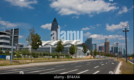 Skyline with Messeturm Tower and exhibition halls with the European quarter in the foreground, Frankfurt am Main, - Stock Photo