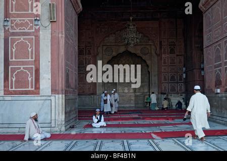 Friday Mosque, Jama Masjid, Jami Masjid, looking into the prayer hall, Old Delhi, India, Asia
