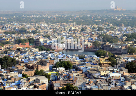 View of Jodhpur, 'The Blue City', the Umaid Bhawan Palace in the back, Rajasthan, North India, India, South Asia, - Stock Photo