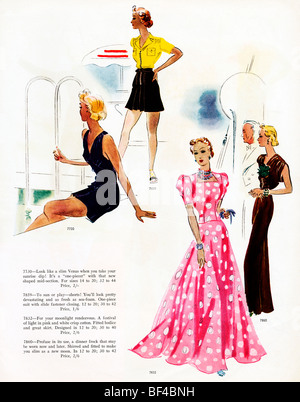 Resort Wear, 1930s fashion magazine illustration of patterns for poolside, lounging and evening wear on holiday - Stock Photo