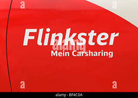 Logo, Flinkster Mein Carsharing, on a car door, car sharing, organized, collaborative use of vehicles, service of - Stock Photo