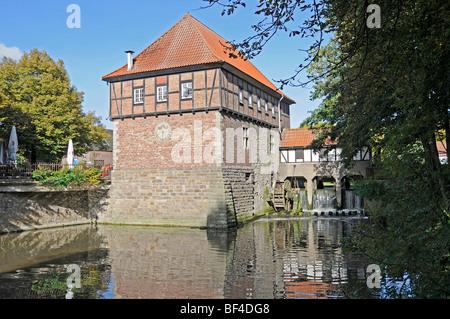 Water mill, Stever River, Luedinghausen, Coesfeld, Muensterland, North Rhine-Westphalia, Germany, Europe