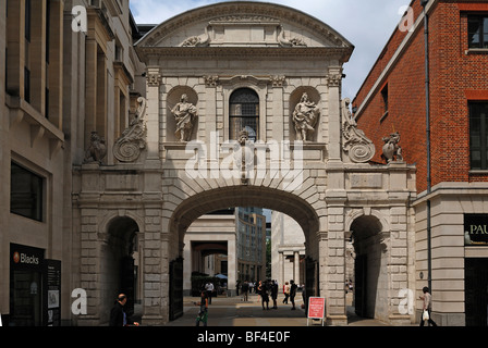 Gateway to the old City of London, 7 Warwick Court, in the back St. Paul's Cathedral, London, England, United Kingdom, - Stock Photo