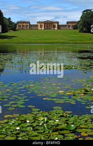 ... Stowe Landscape Gardens, front, Octagon Lake, rear, Stowe School, the  school