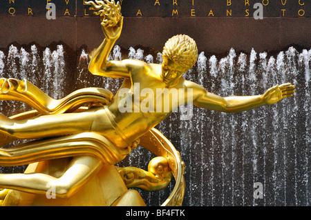 Prometheus statue (by David Shankbone) at Rockefeller Center, New York City - Stock Photo