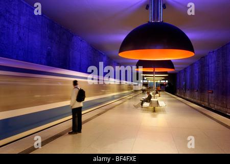 Metro Station, Westfriedhof, Munich, Bavaria, Germany, Europe - Stock Photo