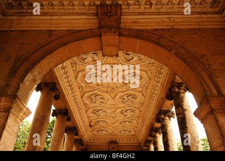 Decorative ceiling of the Palladin Bridge, Palladian bridge, 18th century, Stowe garden landscape, Stowe, Buckingham, - Stock Photo