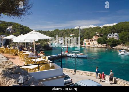 Cafe and harbour of Cala Figuera, Mallorca, Majorca, Balearic Islands, Mediterranean Sea, Spain, Europe - Stock Photo