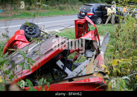 VW Golf having rolled over in traffic accident, torn into two parts, Sindelfingen, Baden-Wuerttemberg, Germany, - Stock Photo