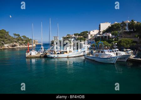 Harbour of Cala Figuera, fishing boats, Mallorca, Majorca, Balearic Islands, Mediterranean Sea, Spain, Europe - Stock Photo