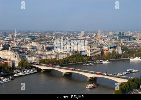 London Skyline. Waterloo Bridge Somerset House frontage onto River Thames UK. Looking north from southbank. South - Stock Photo