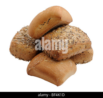 Healthy wholegrain bread rolls isolated over white background - Stock Photo