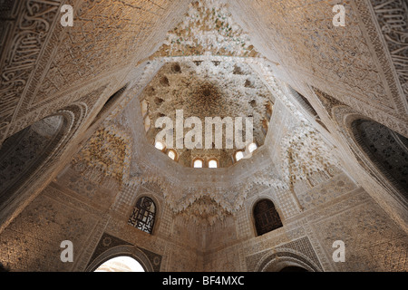 Cupola of Mocarabes, Hall of The Two Sisters, Courtyard of The Lions, Nasrid Palaces, The Alhambra, Granada, Andalusia, - Stock Photo