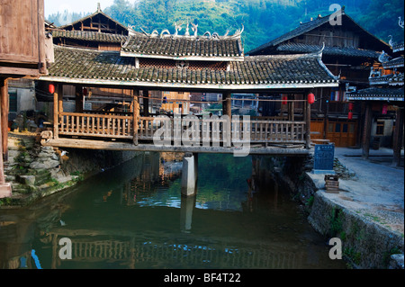 Flower Bridge in Zhaoxing Dong Village, Liping County, Qiandongnan Miao and Dong Autonomous Prefecture, Guizhou - Stock Photo