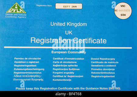 United Kingdom Car Registration Certificate Issued By The Dvla