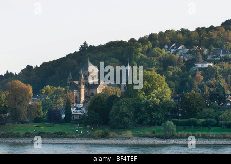View from the Rhine River to the Parish Church of St. Peter and Paul, Remagen, Rhineland-Palatinate, Germany, Europe - Stock Photo