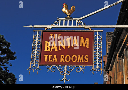 Guesthouse sign, The Bantam Tea Rooms, High Street, Chipping Campden, Gloucestershire, England, United Kingdom, - Stock Photo
