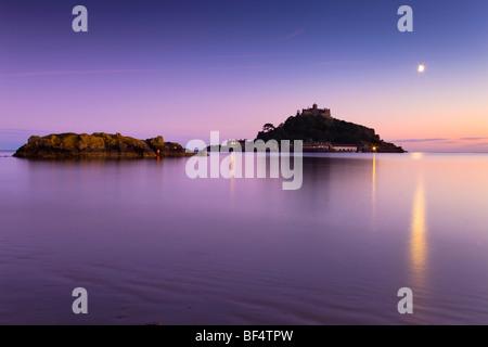 St Michael's Mount at sunset; Marazion; Cornwall - Stock Photo
