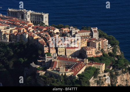 Historic city centre with palace, cathedral and Oceanographic Museum, Principality of Monaco, Cote d'Azur, Europe - Stock Photo