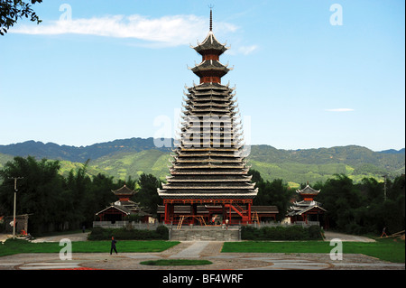 Drum Tower of Chejiang Dong village, Rongjiang County, Qiandongnan Miao and Dong Autonomous Prefecture, Guizhou - Stock Photo