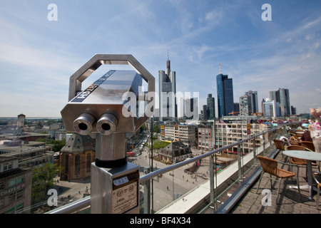 View of the financial district, Commerzbank, European Central Bank, Deutsche Bank, Hessische Landesbank and St. - Stock Photo